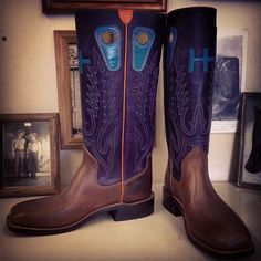 Custom Cowboy  boot. Purple uppers, turquoise pull holes, orange side welt, Beck 5 Row, football vamps. #beckcowboyboots #beckboots #customboots #boots #cowboyboots #handmadecowboyboots #madeintexas