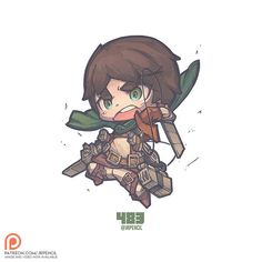 483 - Eren Jaeger The level of details from the Vertical maneuvering equipment is insanely high for the figurine. Really wanted to draw all the details but had to forgo some if not the character will be overly readable. The wire has such elegant flow Dc Anime, Anime Chibi, Manga Anime, Anime Art, Chibi Characters, Cute Characters, Cute Illustration, Character Illustration, Western Anime