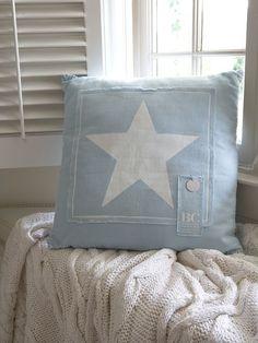 Ice Blue Star Cushion