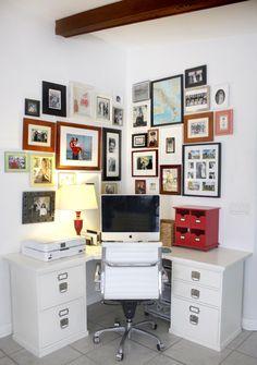Small corner home office--Bedford Corner Desk from Pottery Barn