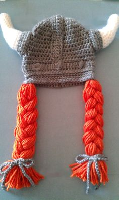 Viking girl crochet baby hat by Nono's Handmade