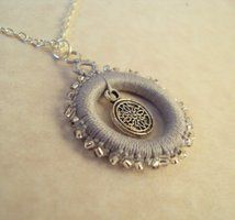 'Alys' silver tatted pendant by TataniaRosa  (with a tree in the center)