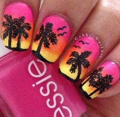Pink yellow palm tree sunset nail art