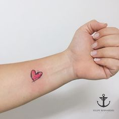 Watercolor little heart tattoo