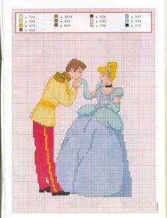 Disney Cinderella and Prince Charming cross stitch