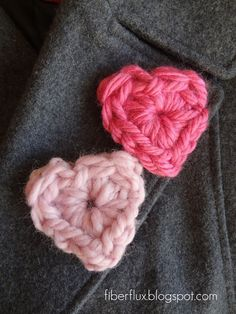 Quick little crochet hearts pattern - Adventures in Stitching: Chunky Heart Pins
