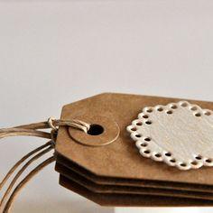 SALE 4 Woodgrain Doily Tags Threaded