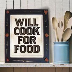 Cooking Kitchen Art Print, Black & White