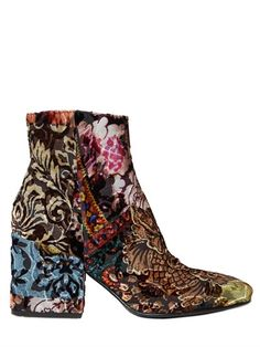 STRATEGIA - 70MM BROCADE VELVET ANKLE BOOTS - LUISAVIAROMA - LUXURY SHOPPING WORLDWIDE SHIPPING - FLORENCE
