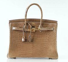 HERMES BIRKIN 35 Bag Ficelle Porosus Crocodile Gold Hardware | 1stdibs.com