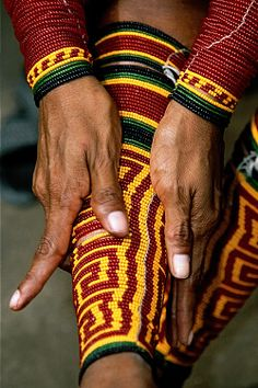 Kuna Indian women wrap their legs with beaded geometric patterns: a puberty ceremony for girls marks the transition to adulthood which requires wearing traditional clothing San Blas Archipelago, Panama photo: © Jean-Philippe Soule Central America, South America, Latin America, Central Asia, Jean Philippe, African Diaspora, Panama City Panama, Travel Images, People Around The World