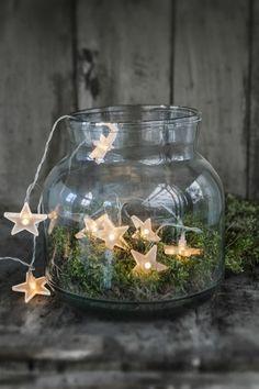weihnachtsdeko diy ideen lichterkette moos glas