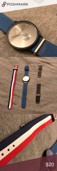 Besseron men's watch (black) 3 bands included! STUNNING MENS WATCH. Included is 2 nylon bands and one metal band Accessories Watches