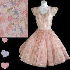 Vintage 40s 50s PINK Full Skirt NOVELTY Print Dress XXS SHEER Berries Rockabilly
