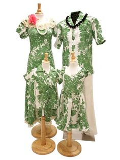 [Exclusive] Royal Hawaiian Creations Hibiscus Panel Green Poly Cotton Girls Hawaiian Sundress