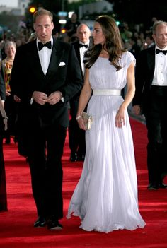 """Pin for Later: 48 Times You Could Almost Relate to Will and Kate The """"Remember What I Said About Not Leaving My Side Tonight"""" Kate shot William a look as they entered a BAFTA gala in Los Angeles in July 2011."""