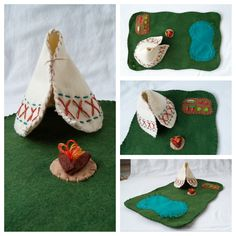 Wool Felt Teepee Playscape Play Mat Native American Camping Lake Garden Fire toy Open-ended Pretend Storytelling Fantasy Woodland Animal by on Etsy Felt Play Mat, Play Mats, Diy Teepee, Felt Books, World Crafts, Felt Patterns, Handmade Toys, Felt Crafts, Needle Felting