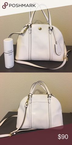 Coach purse 👜 $10.00 OFF UNTIL MONDAY White coach purse. It comes with a strap to be used as a messenger bag or over the shoulder. Will also be sold with leather cleaner. There is a little bit of staining on the bottom, picture shown above. Coach Bags Shoulder Bags