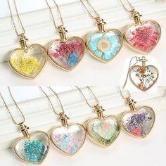 Fashion Dried Flower Gold Heart Glass Bottle Locket Pendant Necklace Jewelry