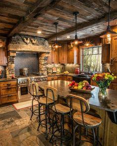 Log Cabin Kitchens, Log Cabin Homes, Rustic Kitchen Cabinets, Rustic Kitchen Design, Rustic Design, Kitchen Designs, Kitchen Island, Dark Cabinets, Style At Home