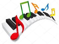 Piano ondulado teclado e música notas ilustração 3d — Ilustração de Stock #34773141
