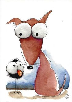 ACEO Original watercolor art painting whimsical big eyed brown dog bird tell me #IllustrationArt