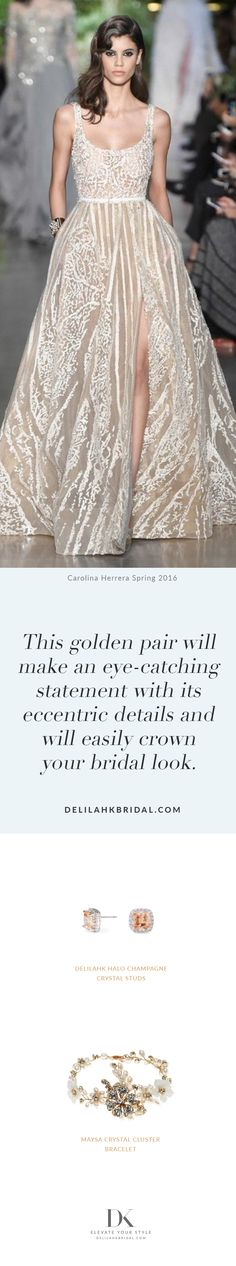 This golden pair will make an eye-catching statement with its eccentric details and will easily crown your bridal look.