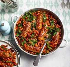 Sausage, mixed bean and kale casserole - Asda Good Living Asda Recipes, Kale Recipes, Vegetarian Recipes, Cooking Recipes, Sausage And Bean Casserole, Beans And Sausage, Sausage Meals, Sausage Recipes, Meal Ideas