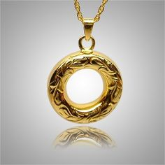 The Eternal Etched Keepsake Jewelry is 14k yellow gold and crafted by an artistic skilled jeweler one at a time. The quality is excellent and the craftsmanship is outstanding. This Keepsake Pendant holds a small amount of remains, a piece of hair or something that is small enough to memorialize your loved one and bring them close to your heart.