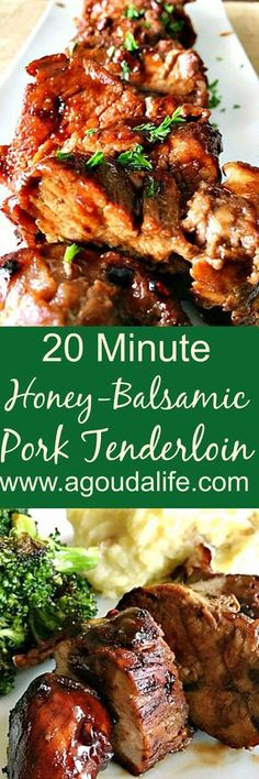 20 Minute Honey Balsamic Pork Tenderloin ~ 20 minutes from stove to table for this delicious, flavor-packed any night pork.