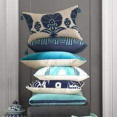 "Ottoman Floral Velvet Applique Pillow Cover, 14"" X 22"", Blue #williamssonoma"