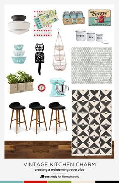 Design a modern kitchen with all the vintage kitchen charm! Tips, inspiration, and product sources from ADAesthetic on Remodelaholic.com
