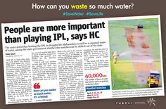 #SaveWater Worst drought killing farmers in Maharashtra but govt not taking any step.. People are more important..Government please take step to avoid wastage of water #SaveFarmers how can you waste so much water?? Support us to shift IPL in other state Its never too late.. #AntimTotla