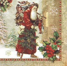 ;) Decoupage Art, Father Christmas, Paper Napkins, Handicraft, Projects To Try, Beverage, Santa, Painting, Image