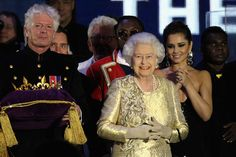 Queen Elizabeth on stage at the end of Diamond Jubilee Concert at Buckingham Palace in London.