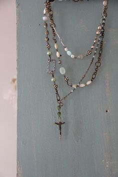 stunning vintage-look chain and beadwork necklace by Pretty Petals