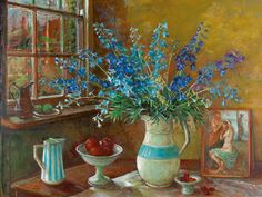 Margaret Olley | Delphiniums and Postcard circa 1970-73oil on board, 88 x 119 cm