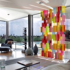DaSomm Choi for Yellow Goat Design: 'Pxl' is Three dimensional and creates coloured lights and shadows. The acrylic panels slot into each other to form a multi coloured window display. http://24.media.tumblr.com/tumblr_mcdnd4gXZN1qmkn2no1_1280.jpg