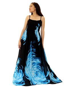 Maxi Dress Plus Size Clothing Black Ball Gala Party Sundress Evening Long  Floral Women - Blue 838f086371c5