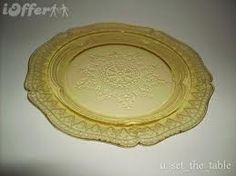Pattern: Patricia or Patrician, Color: Amber, Cake Plate: Used today as a dinner plate. This was given away during the depression years in a large sack of flour to be used as a cake plate.