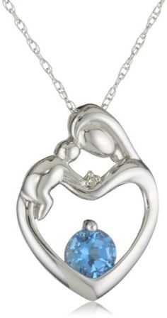 63% Off was $349.00, now is $129.99! XPY 10k White Gold Blue Topaz Diamond-Accent Mother`s Jewel Heart Pendant Necklace, 18 + Free Shipping