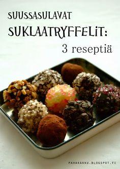 paha kakku: Suklaatryffelit: 3 ihanan yksinkertaista reseptiä. Minun suosikkini oli tumma tryffeli kaakaojauheella.