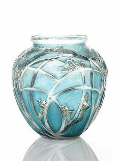 Lalique 'Sauterelles' No. 888 clear, green and blue stained vase, of ovoid form, moulded in low relief with an all over design of grasshoppers with long grasses - INCREDIBLY BEAUTIFUL! Art Nouveau, Art Deco, Art Of Glass, Glass Ceramic, Antique Glass, Glass Design, Perfume Bottles, Aqua, Turquoise
