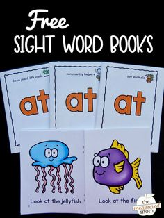 """Print this set of free books to teach the sight word """"at."""" Perfect for beginning readers!"""