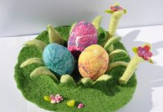 Felted Easter Decoration Egg Flower Grass Garden Waldorf Play Mat Spring Bunny Season Table Play Mat Playscape Landscape Handmade Wet Felted by FeltedbyBetti on Etsy