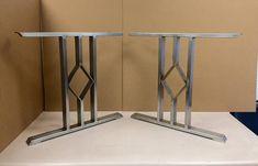 Design Dining Table Legs, Three Bars With Diamond, Set of 2 Steel Steel Legs Wooden Shelf Brackets, Dining Table Legs, Wood Tables, Metal Table Legs, Table Desk, Black Door Handles, Steel Cabinet, Floating Vanity, Steel Table