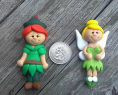 PETER PAN & TINKERBELL - Princess -  Polymer Clay Bow Center via Etsy