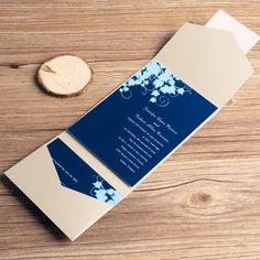 navy blue floral silver pocket wedding invitations EWPI035 as low as $1.69