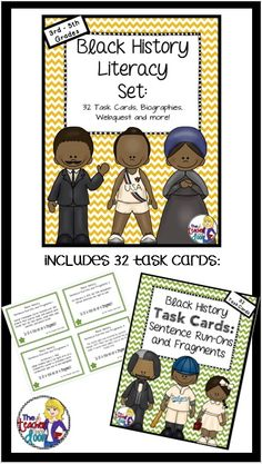 This 69 page set is filled with 32 task cards, worksheets, computer activities, foldables and more! Just right for 3rd - 5th graders for Black History Month! (TpT Resource)