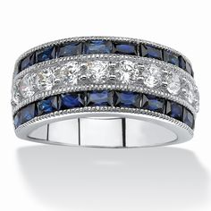 Radiant lab created blue sapphire ring in a contemporary triple-row setting with delicate milgrain edging and dazzlingPrice - $89-hT8Am9SQ